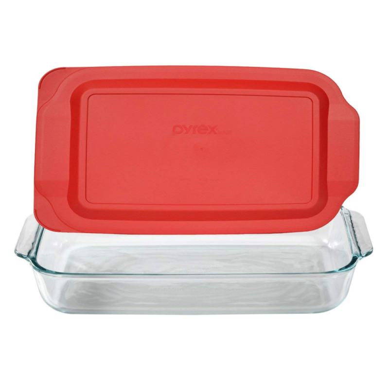 Pyrex Basics 3 Quart Glass Oblong Baking Dish with Red Plast