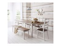 Brand new shabby chic dining table for sale (damaged) in white & dark pine - TABLE ONLY