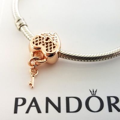 Authentic Pandora Charms Bead Rose Gold Love You Lock 787655