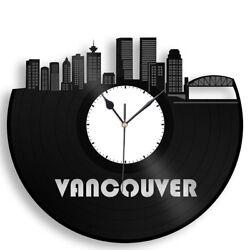 Vancouver Canada Vinyl Wall Art Clock City Skyline Travel Unique Gift Home Decor