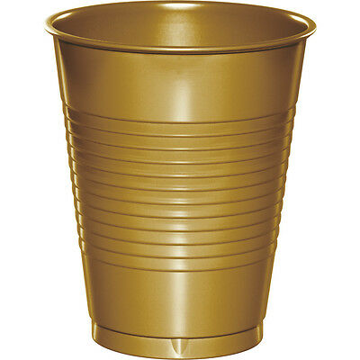 20 Glittering Gold Wedding Birthday Party Tableware 16oz Plastic Beverage Cups