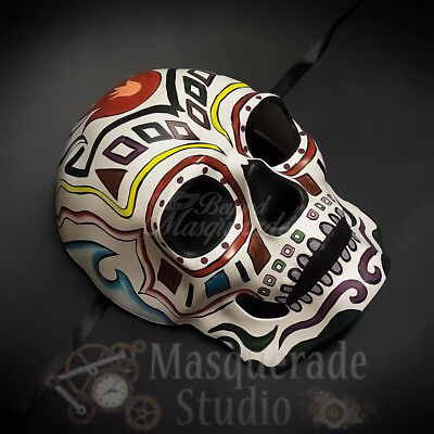 Men's Day of the Dead Full Face Tribal Leader Halloween Masquerade Mask [White] (Day Of The Dead Halloween Faces)