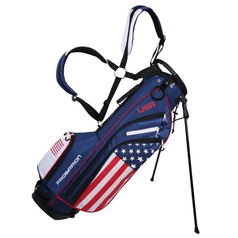 "Prosimmon Golf DRK 7"" Lightweight Golf Stand Bag with Dual Straps - USA Flag"