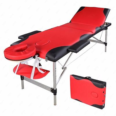 3 Fold Portable Massage Table Facial SPA Bed Tattoo w/Carry Case Aluminum