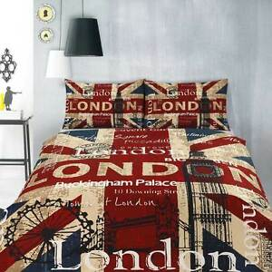 Retro London Uk British Flag Teen Quilt Doona Cover Set
