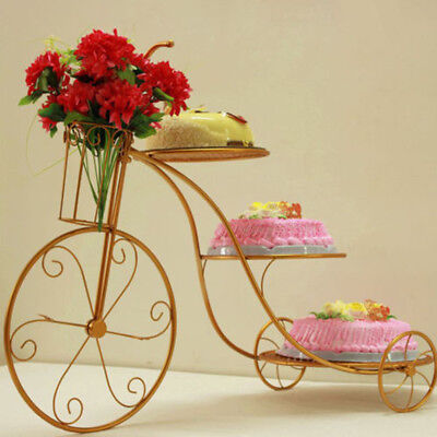 Elegant 3 Tier Bicycle STYLE cake holder Iron Art pies cookies plant stand Gold ()