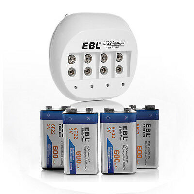 EBL Charger For 6F22 9V Li-ion Rechargeable Battery + 4 x 600mAh 6F22 Batteries