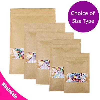 Assorted Sizes Flat Beige Kraft Paper Zip Lock Pouch Bag W Clear Window M