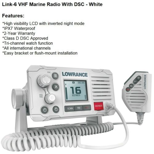Lowrance High Visibility LCD Link-6 VHF Marine Radio Rated IPX7 Waterproof 66172