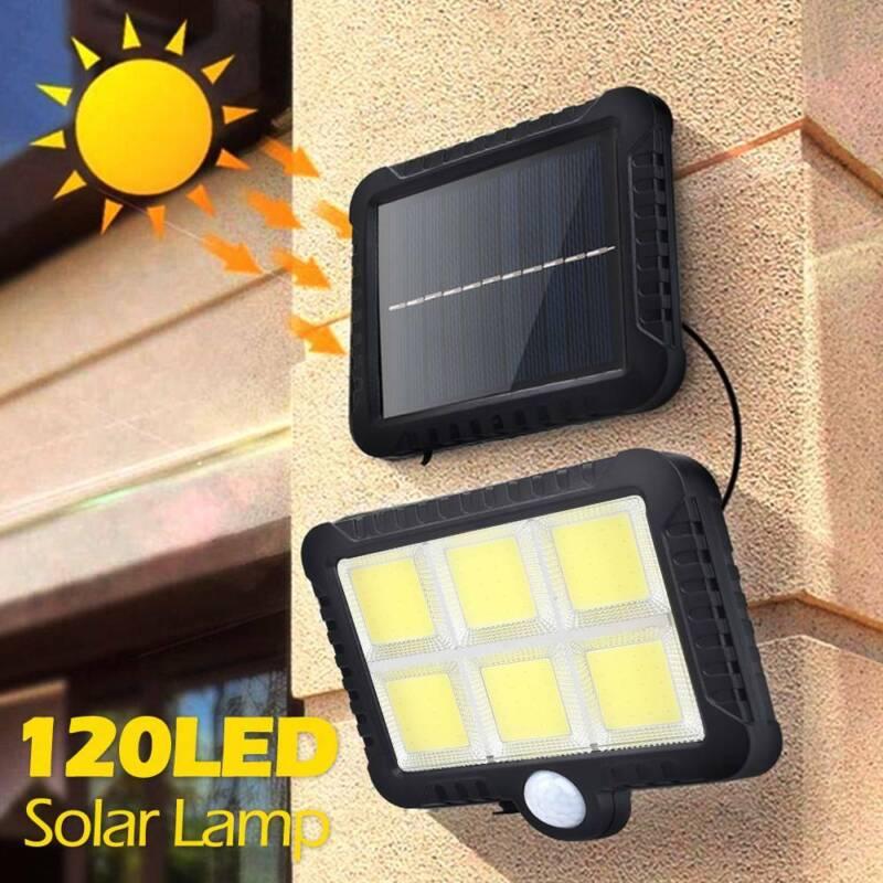 4er 206LED Solarleuchte mit Bewegungsmelder Gartenlampe Fluter Sensor Strahler