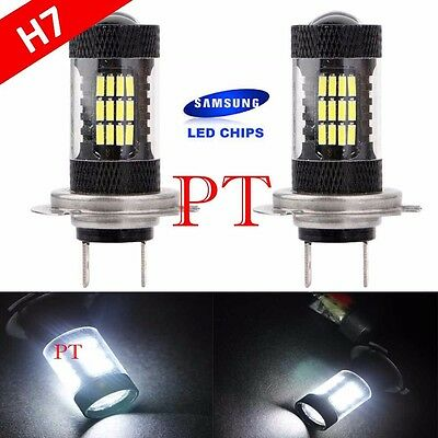 H7 Samsung LED 57 SMD Super White 6000K Headlight Xenon 2x Light Bulbs Low Beam