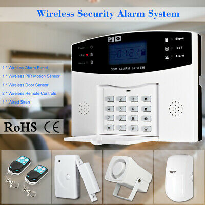 - 433Mhz RF Wireless GSM SMS LCD Home Burglar Alarm Security System APP Control US