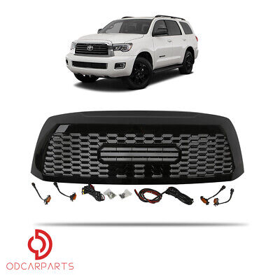 Fits Toyota Sequoia 2010-2018 Front Upper Grille TRD W/Lamp Letters Gloss Black