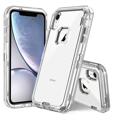 iPhone X XS Max XR 6 7 8 Plus Clear Transparente Defender Case Cover Shockproof Clear Cover Clip