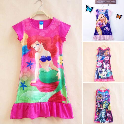 Kinder Mädchen Nachtwäsche Nachthemd Schlafanzug Party Freizeit Kleid Kostüm