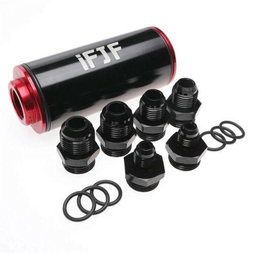 Black&Red 6AN 8AN 10AN Inline Fuel Filter High FLOW 100 Micron Cleanable SS New