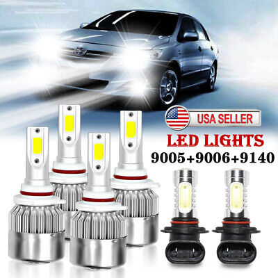 For Toyota Corolla 2005 2006 2007 2008 6PCS Combo LED Fog Light & Headlight Bulb