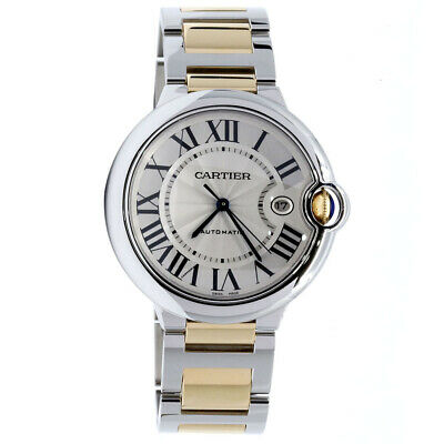 CARTIER BALLON BLEU TWO TONE 18k YELLOW GOLD & STAINLESS 42MM WATCH W69009Z3