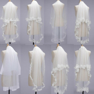 Cheap Wedding Veils (New White/Ivory 1T 2T 1.5M Long Wedding Veil Bridal Veils Lace Edge with)