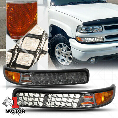 Chrome/Smoke LED Look Bumper Signal Lights for 99-02 Chevy Silverado 1500-3500HD