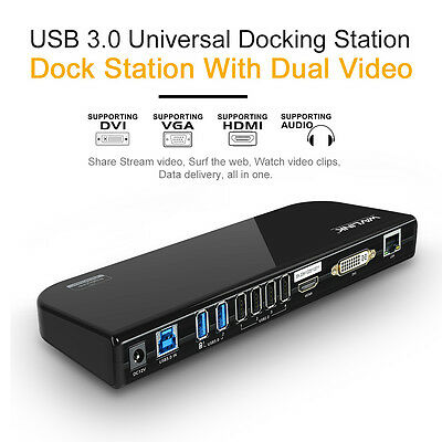 Wavlink USB3.0 Universal Docking Station,Dual Video Docks Support US/UK/EU Plug