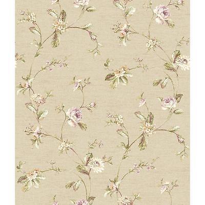York Wallcoverings Riverside Park FD8481 Ornamental Floral Trail - Brown Floral Trail Wallpaper