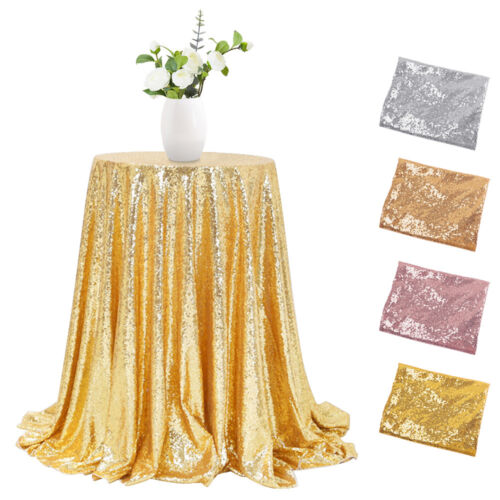 """48"""" Sparkly Sequin Tablecloth Round Glitter Table Cover Wedd"""