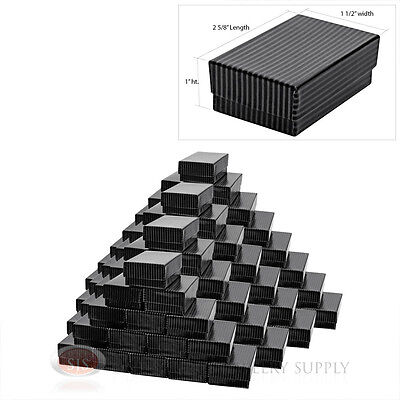 100 Black Pinstripe Cotton Filled Jewelry Gift Boxes 2 58 X 1 12