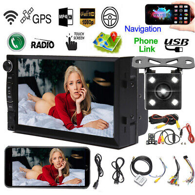 """7"""" Android Car Stereo GPS Navi MP5 Player 2 Din WiFi Quad Core FM AM Radio + Cam"""