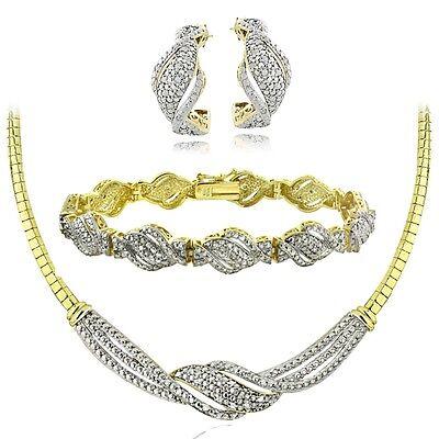 0.75 Ct Diamond Twist Necklace, Bracelet, Earrings Set - Gold Tone