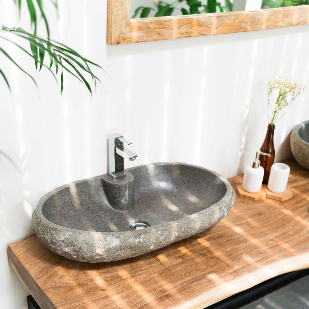 WOHNFREUDEN Naturstein-Waschbecken 60 cm OVAL gerader Rückwand Bad Gäste WC