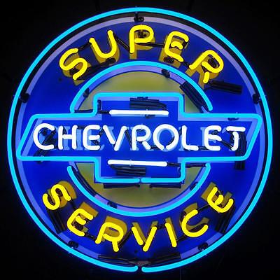Super Chevrolet Service Neon Sign - GM - Chevy - Parts - Bowtie - Dealership