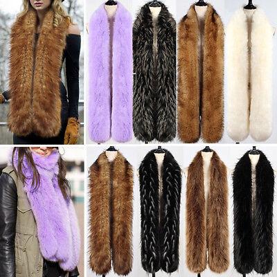 Women Faux Fox Fur Scarf Long Soft Collar Shawl Wrap Stole Fluffy Winter Warm Long Collar Scarf