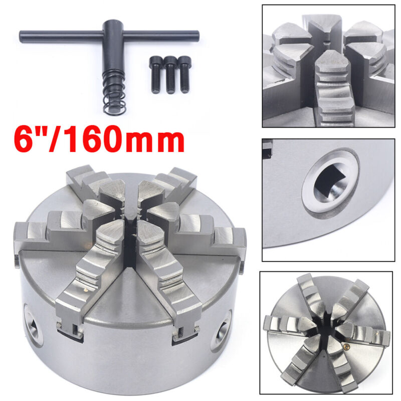 """6Jaw 160mm Lathe Chuck 6"""" Self-Centering Step Jaws Metal Lathe Tool Accessory"""
