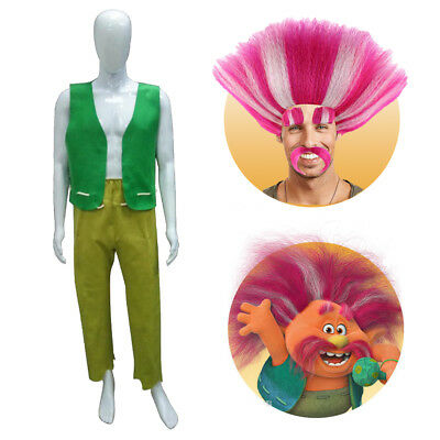 Pink Halloween Party (Trolls King Peppy Cosplay Costume Green Vest Pants or Pink Wig Halloween)