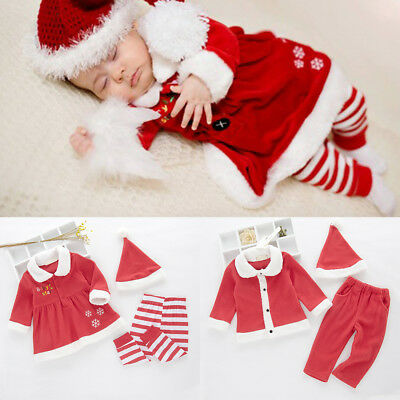 Christmas Santa Claus Costume for Baby Girls Boys Tops Pants Hats Clothes - Santa Claus Costume For Toddlers