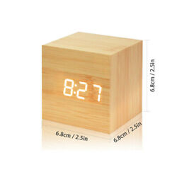 Modern Digital Wooden LED Small Cool Mini Alarm Clock Cube With Voice Control
