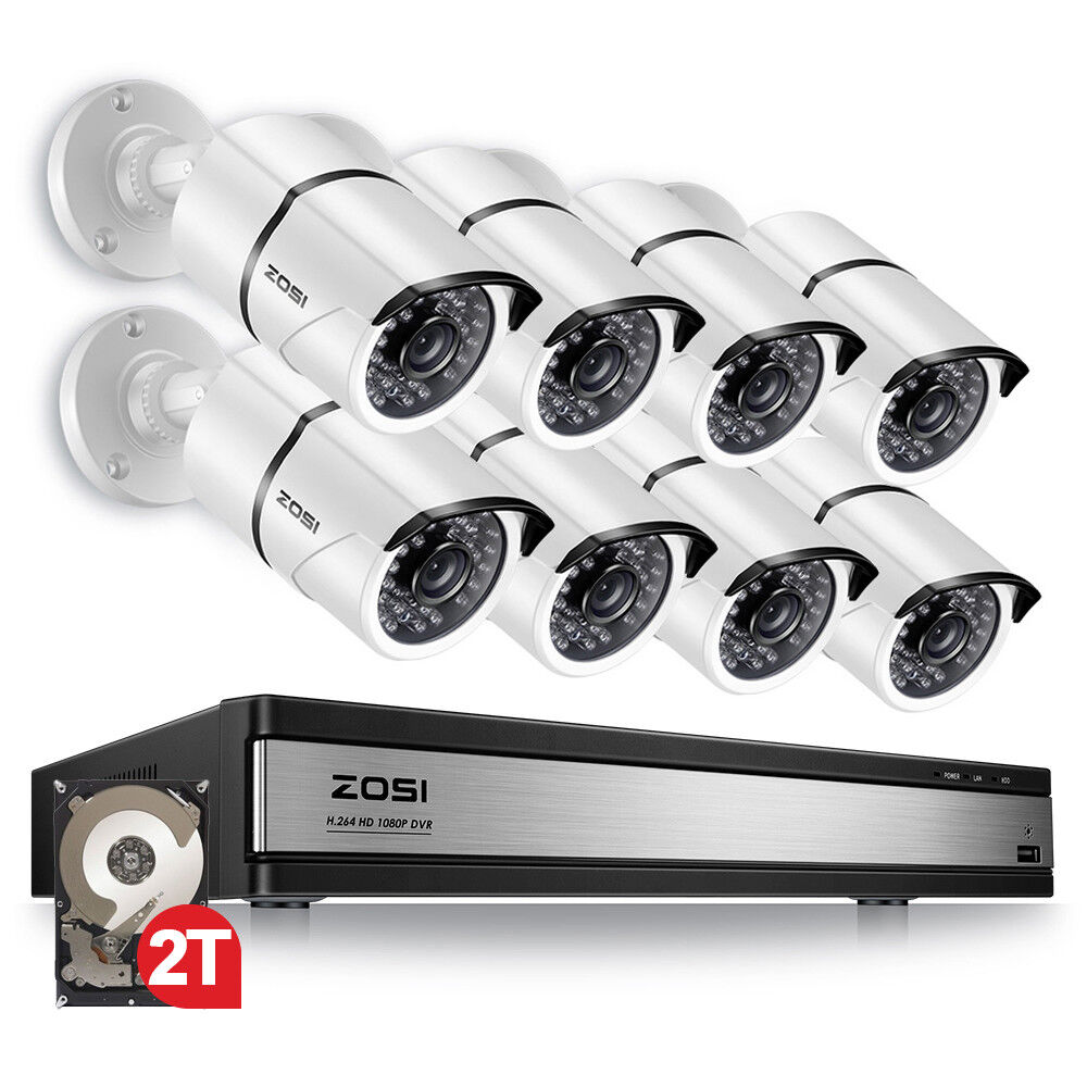 ZOSI DVR 16CH 1080P with Hard Drive 2TB Outdoor Security Camera System 16 CH HD