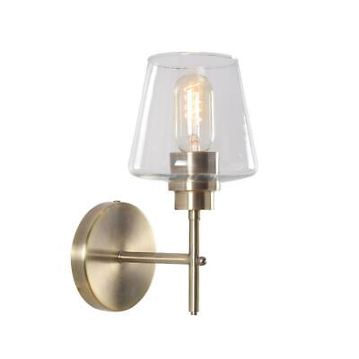 Kenroy Home Dean 11 in. Antique Brass Sconce with Clear Glass Shade 94116AB