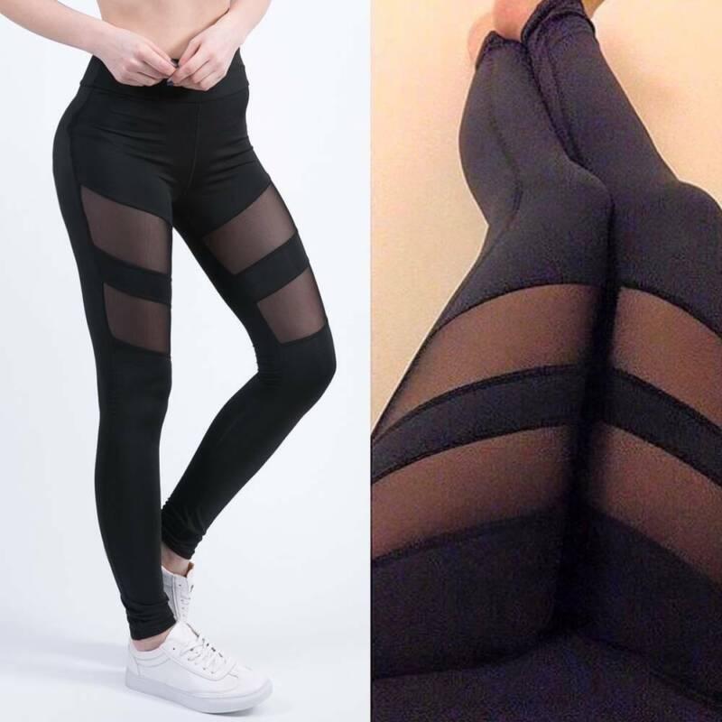 Damen Leggings Sexy Schwarz Mesh Yoga Hose Sporthosen Fitness Leggins Gym Hosen