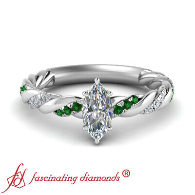 Marquise Cut Diamond And Emerald Gemstone Twisted Vine Engagement Ring 0.65 Ctw