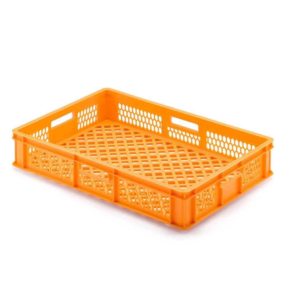 Transportbehälter für Backbleche, LxBxH 650 x 450 x 120 mm, orange, durchbrochen