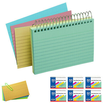 6 Pack Spiral Bound Index Cards 3 X 5 Ruled 50ct Assorted Colors School Office