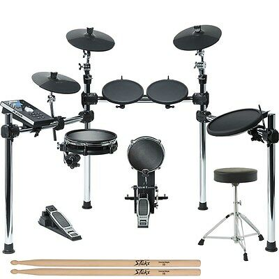 Alesis Command 8-Piece Electronic Drum Kit with Module + Throne + Sticks Bundle