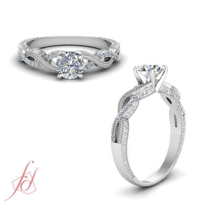 Round Cut Diamond Vintage Hand Engraved Infinity Shank Engagement Ring 0.60 Ctw