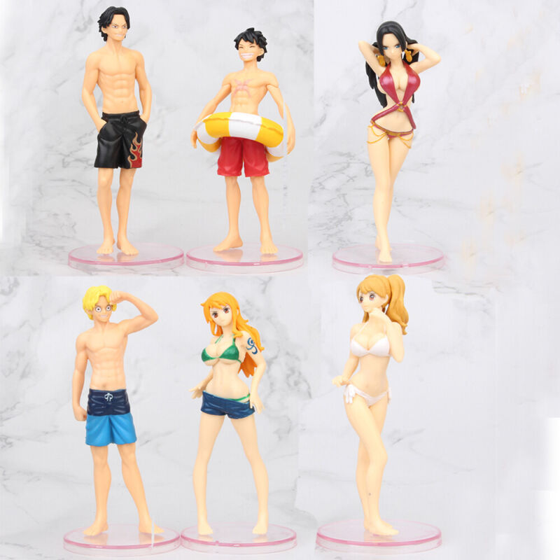 One Piece Luffy Boa Hancock Nami Anime Action Figure Cake Topper 6 PCS Gift Toys