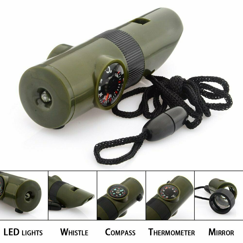 7 in 1 Military Emergency Survival Whistle Kit Compass LED Light Thermomet Tool Camping & Hiking