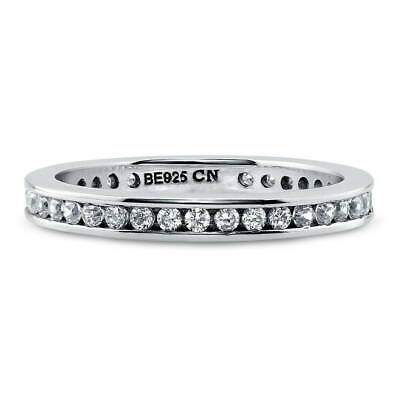 BERRICLE Sterling Silver Channel Set Cubic Zirconia Wedding Eternity Band Ring