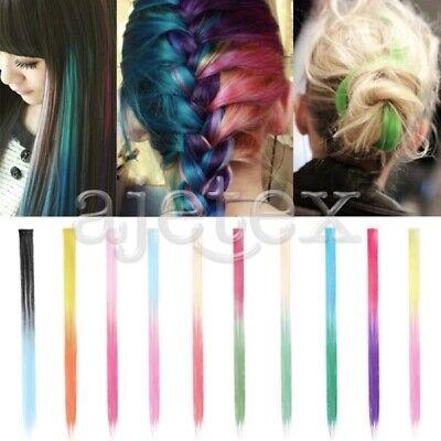 Damen Clip-In Lange Glatt Regenbogen Perücken Haar Wig Hairs Cosplay Haarteile ()