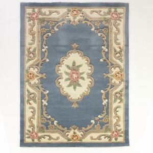 lotus premium blue chinese aubusson wool rug in various sizes shapes and runner ebay. Black Bedroom Furniture Sets. Home Design Ideas